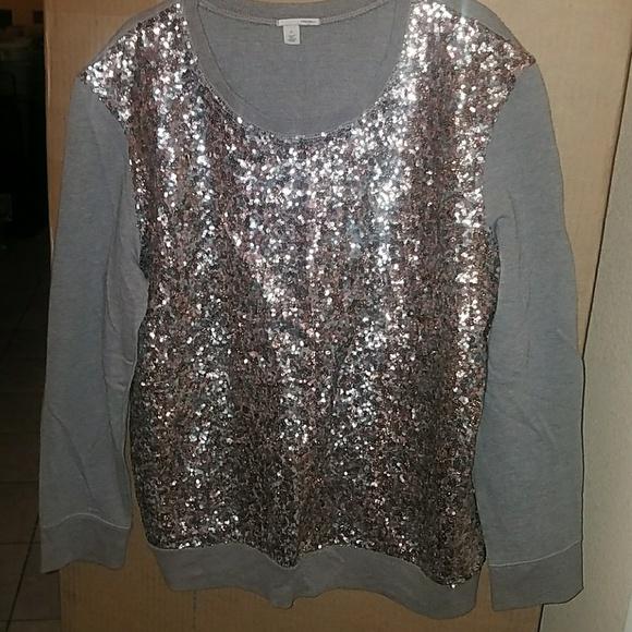 1fac70c9620 Halogen Sweaters | Sequin Sweater Xl Copper Silver Grey | Poshmark